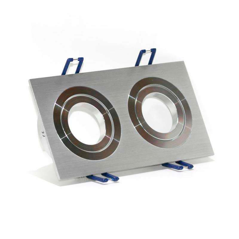 Housing for led downlight x2 adjustable spots square  Nickel